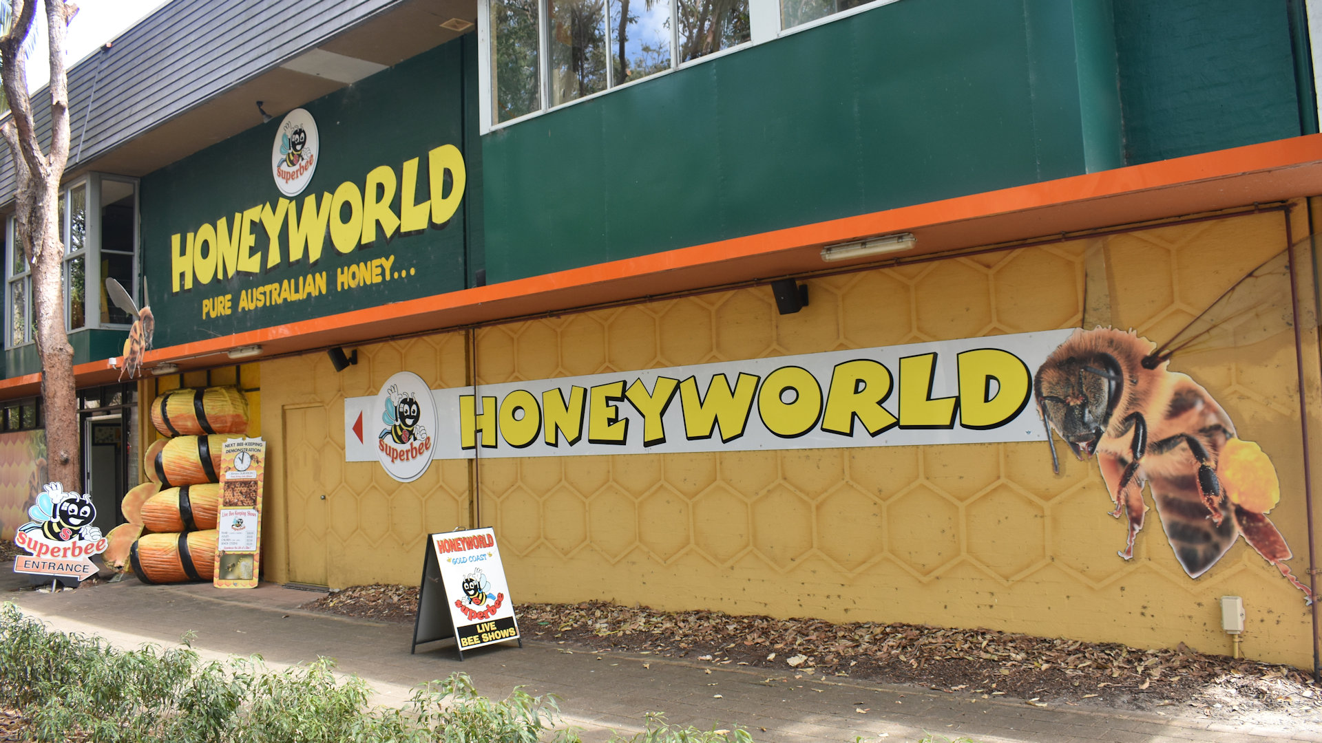 Front of the Superbee Honeyworld attraction in Currumbin Gold Coast, with the Big Beehive entrance