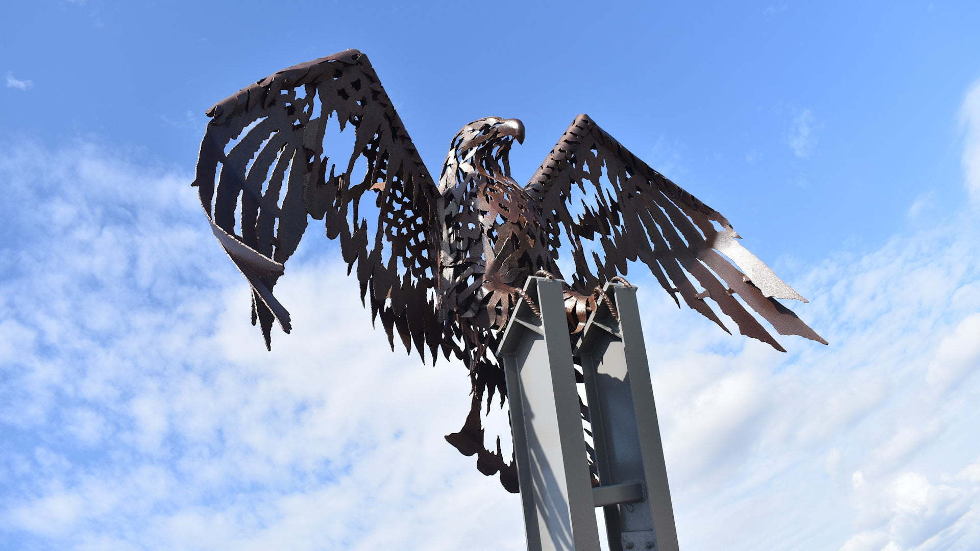 The Big Eagle known by locals as the Rusty Chook, the iron steel eagle sits on the hill of Kirra Point at Coolangatta Gold Coast