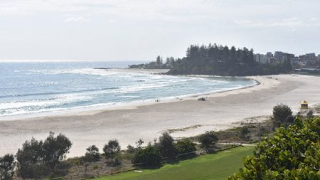 View over Coolangatta Beach to Greenmount Point, taken from The Big Eagle on Kirra Point