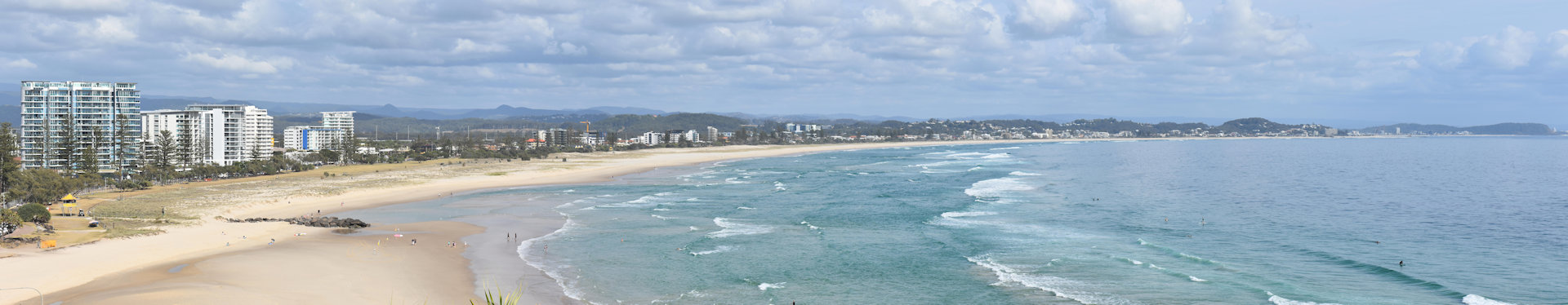 Panorama view from The Big Eagle at Kirra Point over Kirra Beach and the Gold Coast towards Paradise Point