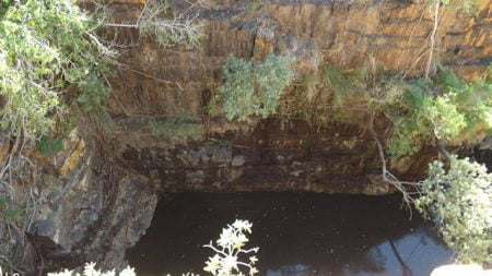 Looking down to the waterhole in the Grotto