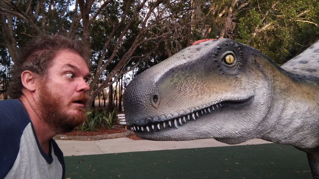 Face to face with a dinosaur, at Johnston Park in Rosewood, Queensland