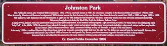 Brown sign for Johnston Park