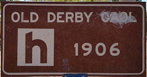 Brown sign for Old Derby Gaol, 1906
