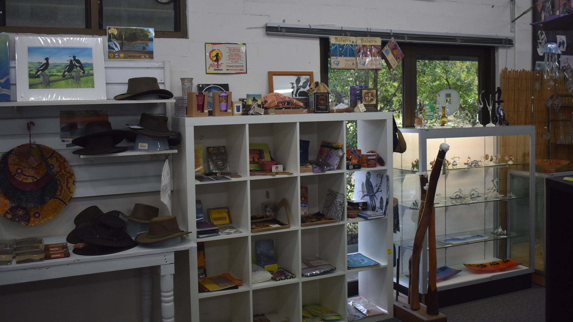 Display of arts and crafts in New Italy New glass art shop and gallery in South Wales