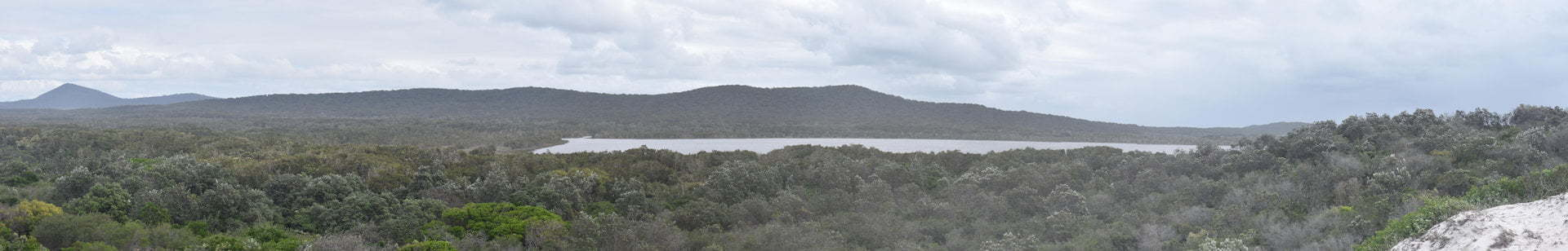 Panorama of Lake Arragan in the Yuraygir National Park on the walk between Brooms Head and Angourie