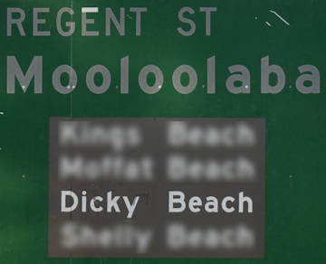 Brown sign for Dicky Beach