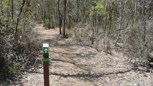bush trail with a directional post on the side of the track, taken at Russo Nature Park