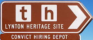 Brown sign for Lynton Heritage site, Convict Hiring Depot