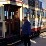 Man about to board a tram, at the Talking Tram Tour in Bendigo
