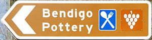 Brown sign for Bendigo Pottery