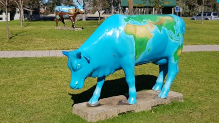World Map Cow, part of Shepparton's Moooving Art attraction