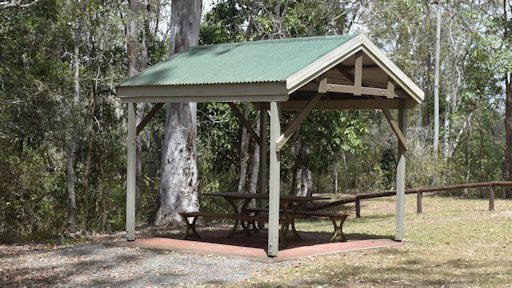 Sheltered picnic table at a reserve with gum trees behind