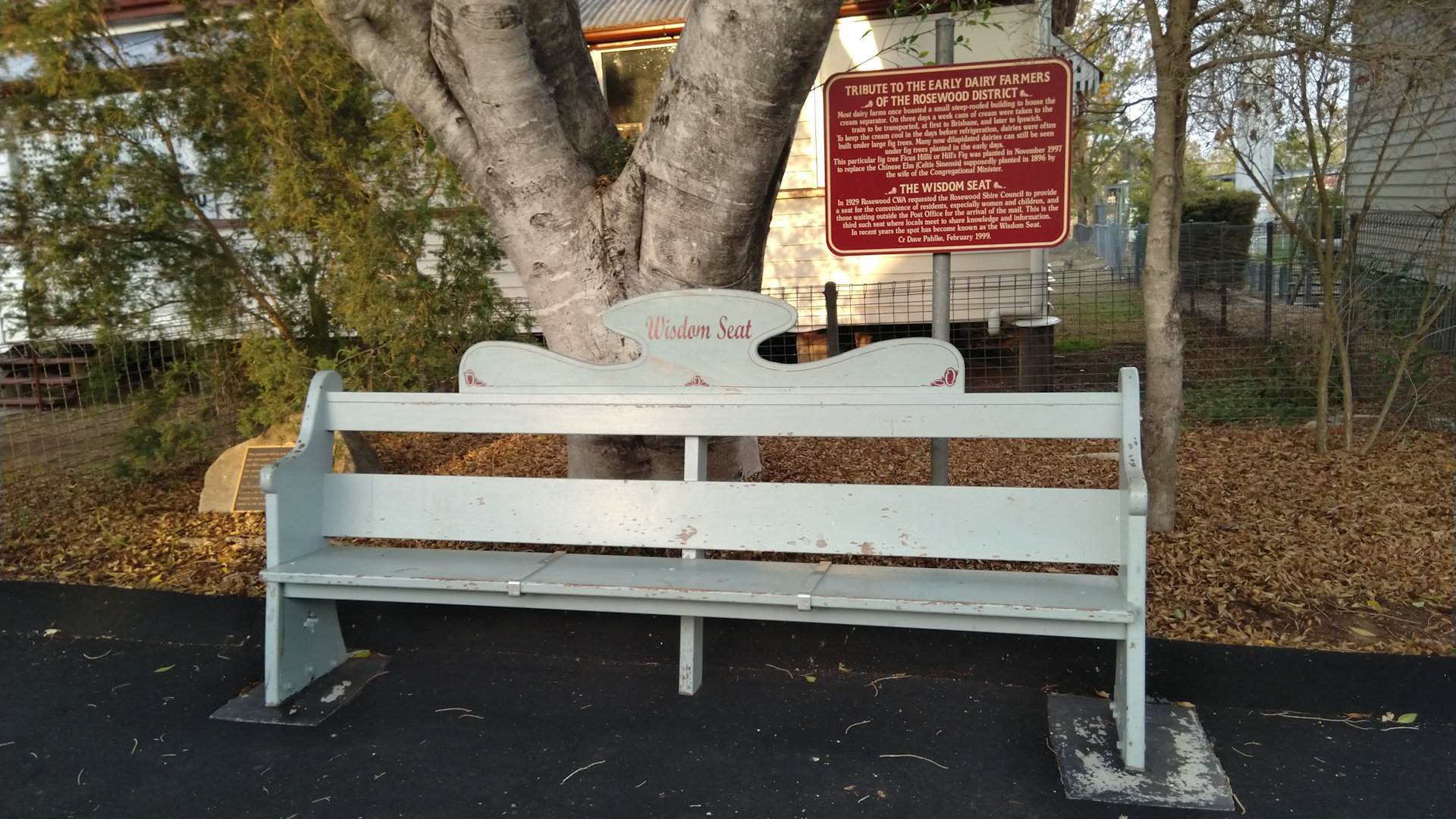 The Wisdom Seat in the main street of Rosewood