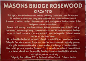 Brown sign for Masons Bridge Rosewood, circa 1910