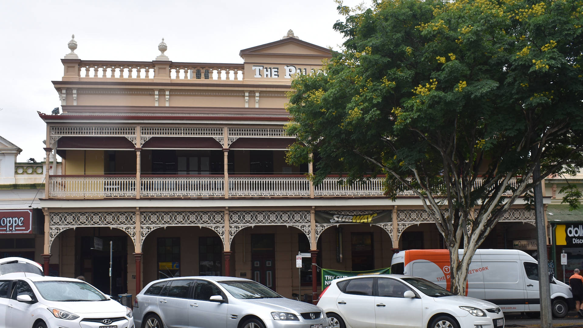 Front of a country town building, taken in Childers Queensland