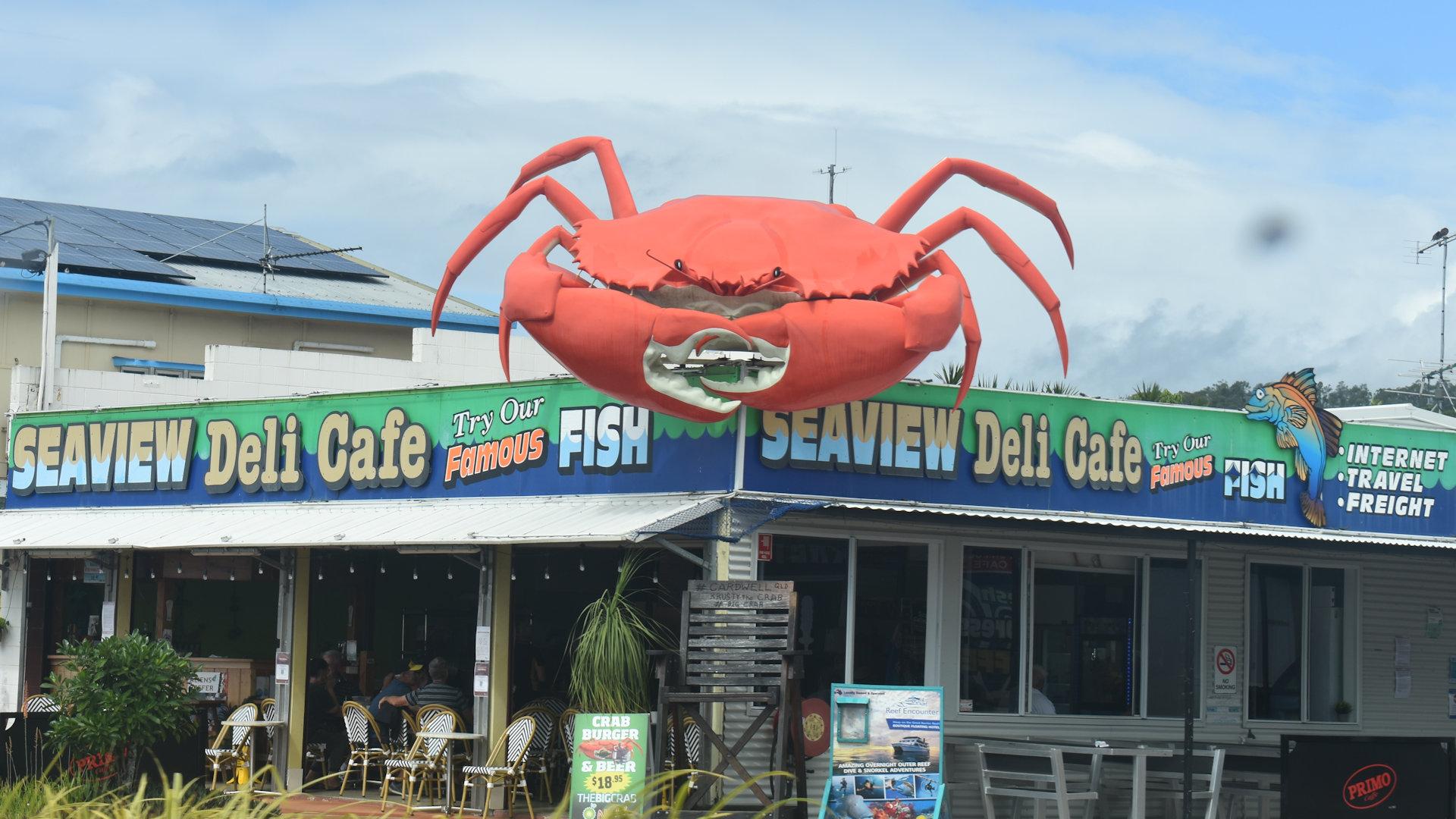 Big Crab above the Cardwell Seaview Deli